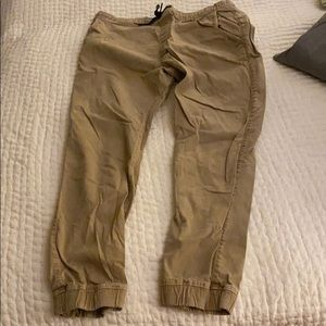Khaki tan pants with drawstring waist